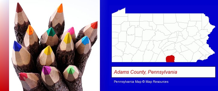 colored pencils; Adams County, Pennsylvania highlighted in red on a map