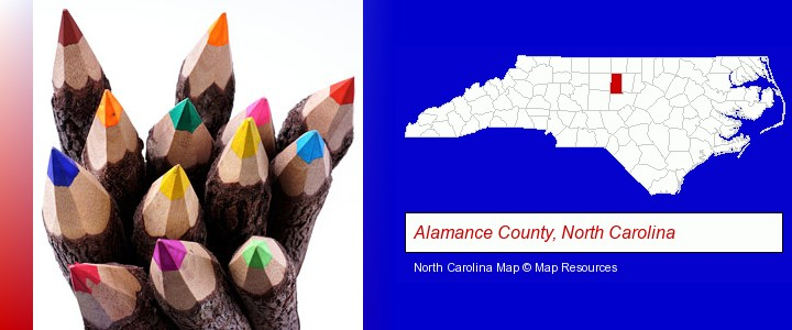 colored pencils; Alamance County, North Carolina highlighted in red on a map
