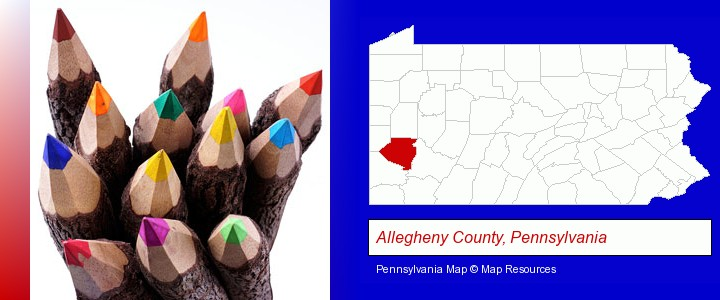colored pencils; Allegheny County, Pennsylvania highlighted in red on a map