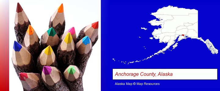 colored pencils; Anchorage County, Alaska highlighted in red on a map