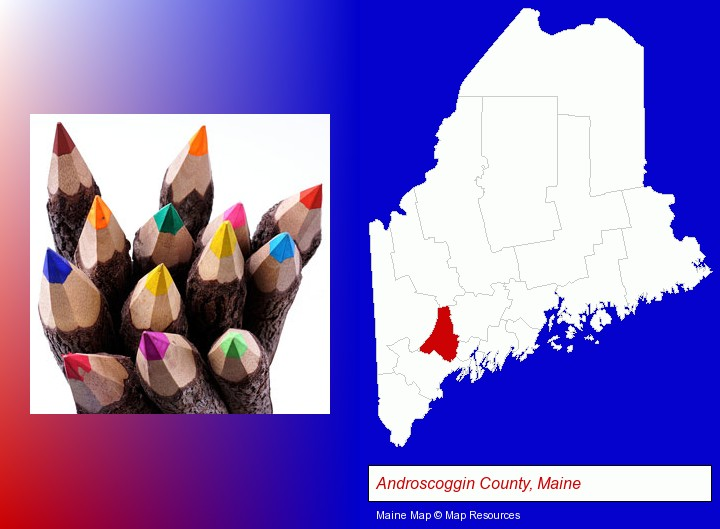 colored pencils; Androscoggin County, Maine highlighted in red on a map