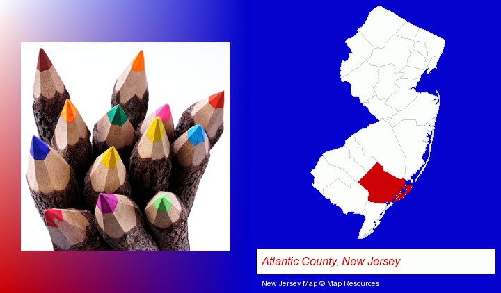 colored pencils; Atlantic County, New Jersey highlighted in red on a map