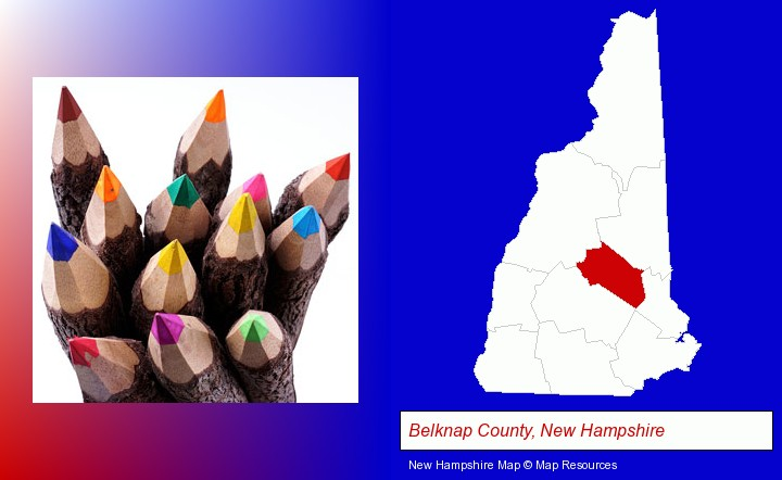 colored pencils; Belknap County, New Hampshire highlighted in red on a map