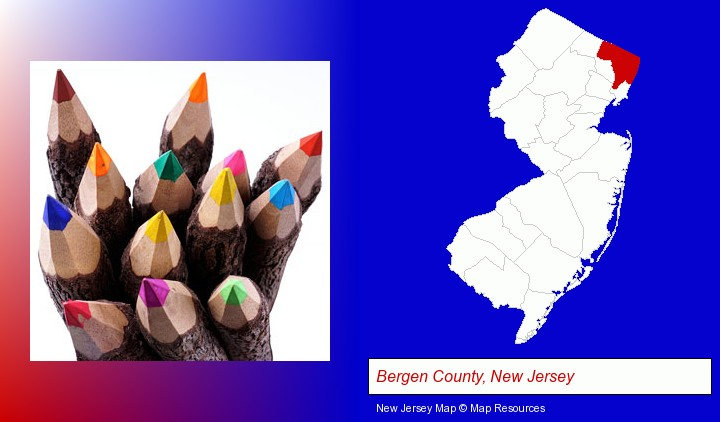 colored pencils; Bergen County, New Jersey highlighted in red on a map