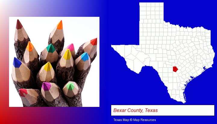 colored pencils; Bexar County, Texas highlighted in red on a map