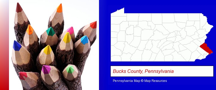 colored pencils; Bucks County, Pennsylvania highlighted in red on a map