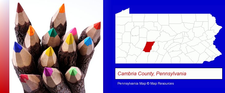 colored pencils; Cambria County, Pennsylvania highlighted in red on a map