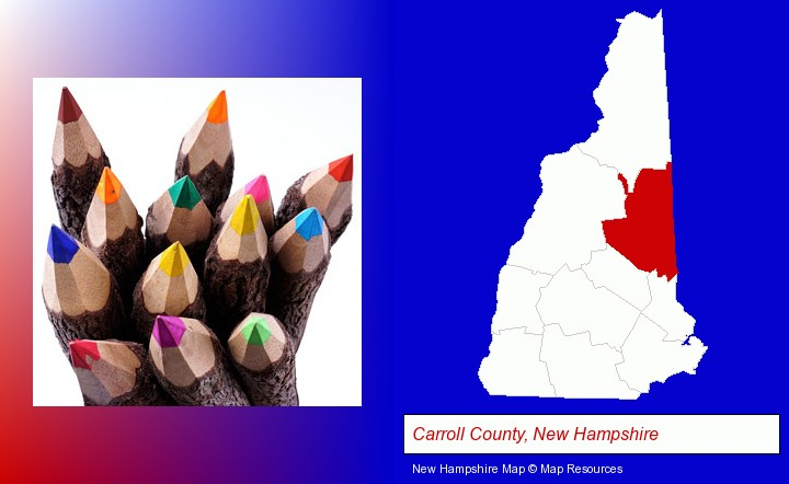 colored pencils; Carroll County, New Hampshire highlighted in red on a map