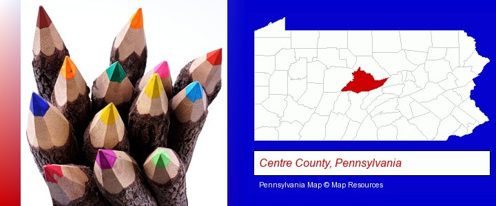 colored pencils; Centre County, Pennsylvania highlighted in red on a map