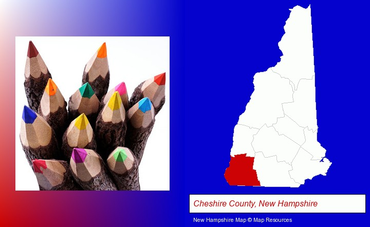 colored pencils; Cheshire County, New Hampshire highlighted in red on a map