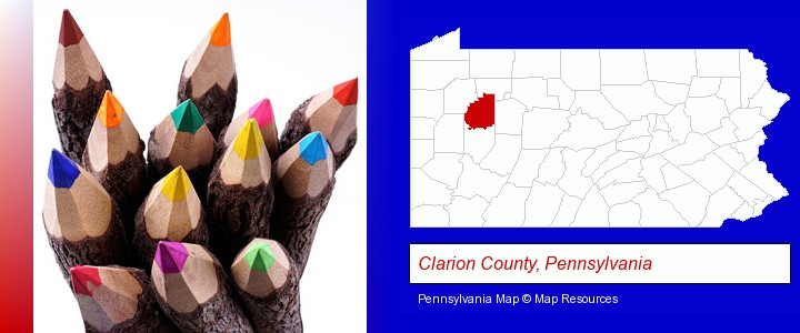 colored pencils; Clarion County, Pennsylvania highlighted in red on a map