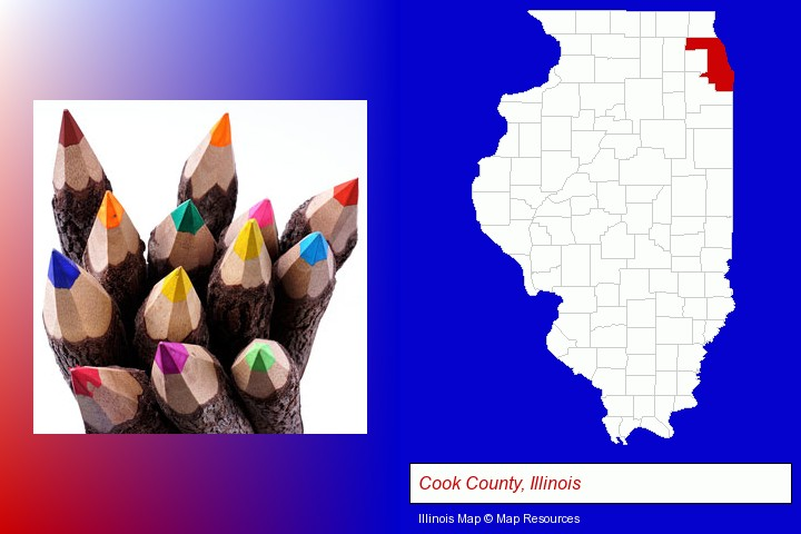 colored pencils; Cook County, Illinois highlighted in red on a map