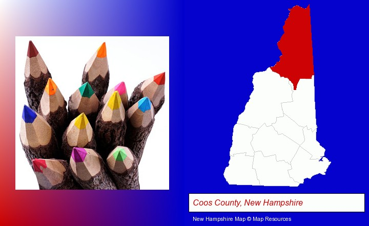 colored pencils; Coos County, New Hampshire highlighted in red on a map