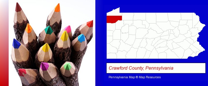colored pencils; Crawford County, Pennsylvania highlighted in red on a map
