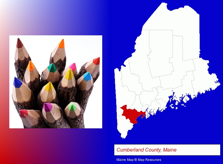 colored pencils; Cumberland County, Maine highlighted in red on a map