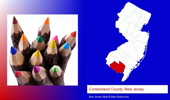colored pencils; Cumberland County, New Jersey highlighted in red on a map