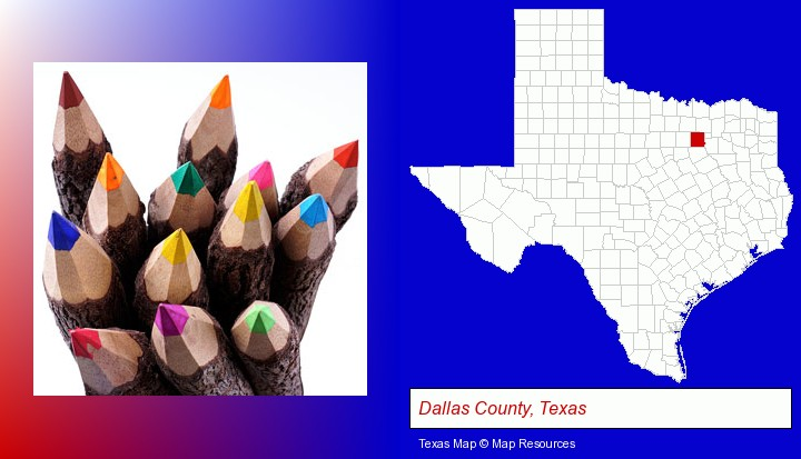colored pencils; Dallas County, Texas highlighted in red on a map
