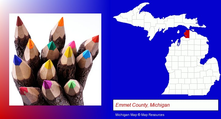 colored pencils; Emmet County, Michigan highlighted in red on a map