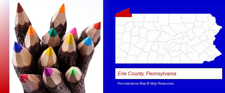 colored pencils; Erie County, Pennsylvania highlighted in red on a map