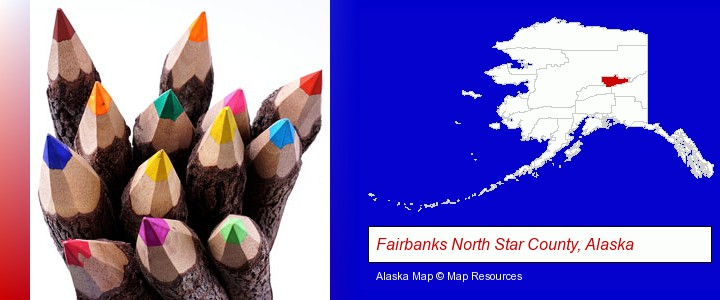 colored pencils; Fairbanks North Star County, Alaska highlighted in red on a map