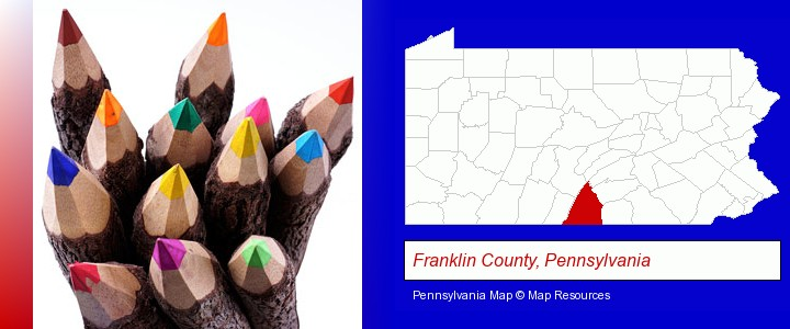 colored pencils; Franklin County, Pennsylvania highlighted in red on a map