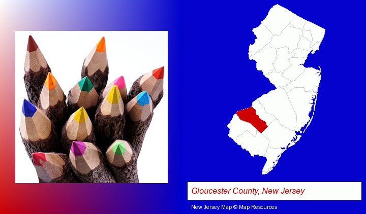 colored pencils; Gloucester County, New Jersey highlighted in red on a map