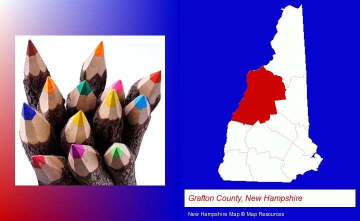 colored pencils; Grafton County, New Hampshire highlighted in red on a map