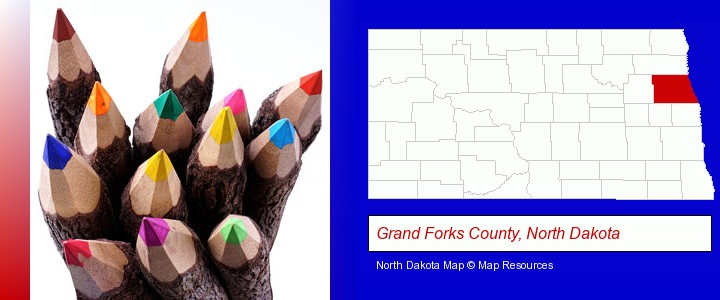 colored pencils; Grand Forks County, North Dakota highlighted in red on a map