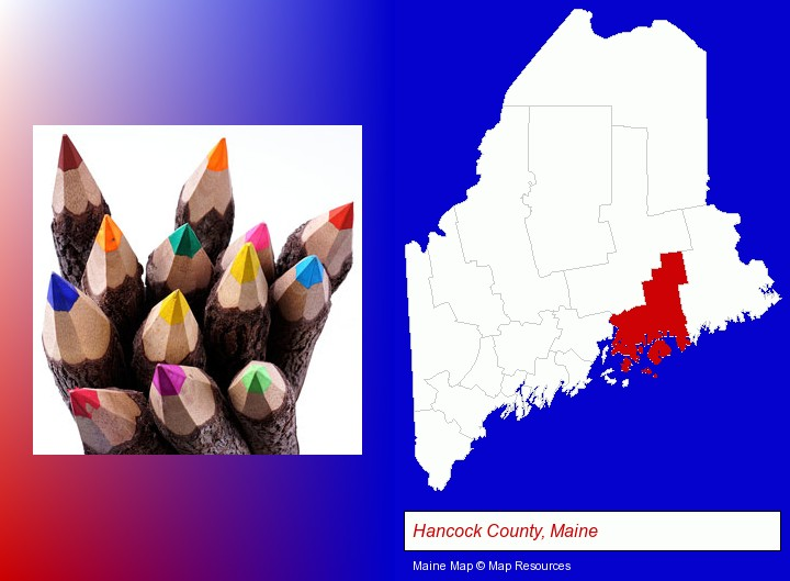 colored pencils; Hancock County, Maine highlighted in red on a map