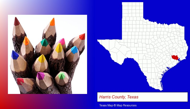 colored pencils; Harris County, Texas highlighted in red on a map