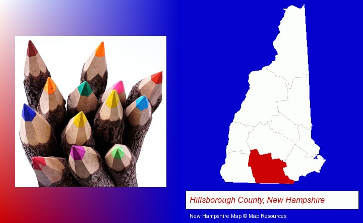 colored pencils; Hillsborough County, New Hampshire highlighted in red on a map