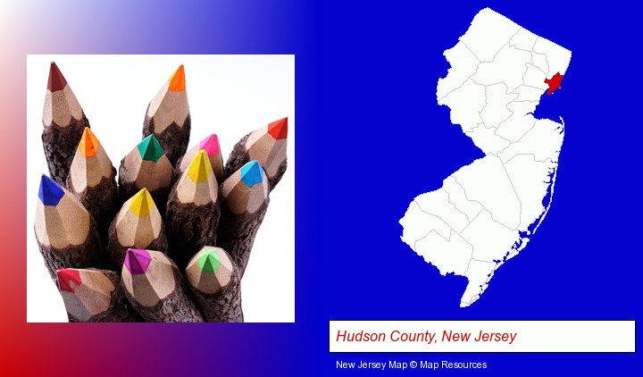 colored pencils; Hudson County, New Jersey highlighted in red on a map