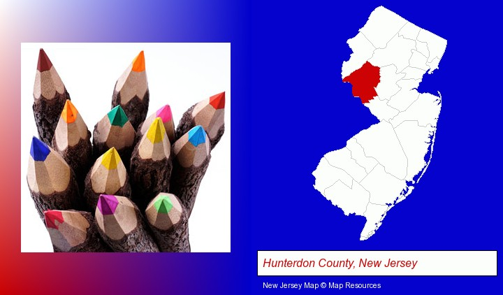 colored pencils; Hunterdon County, New Jersey highlighted in red on a map
