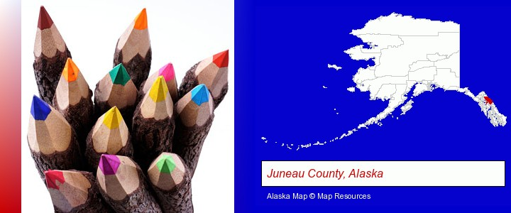 colored pencils; Juneau County, Alaska highlighted in red on a map