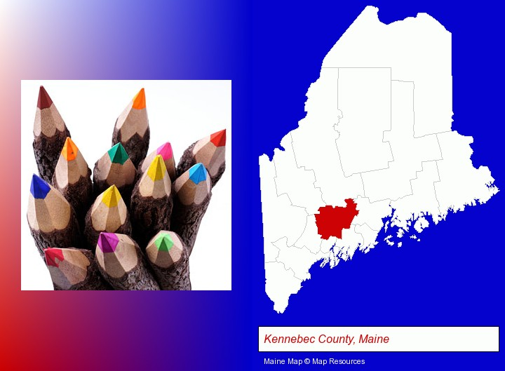 colored pencils; Kennebec County, Maine highlighted in red on a map