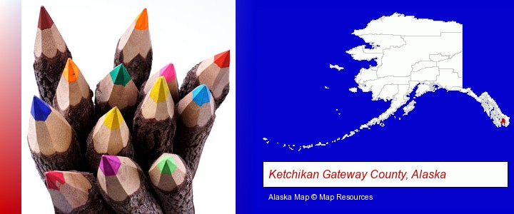 colored pencils; Ketchikan Gateway County, Alaska highlighted in red on a map