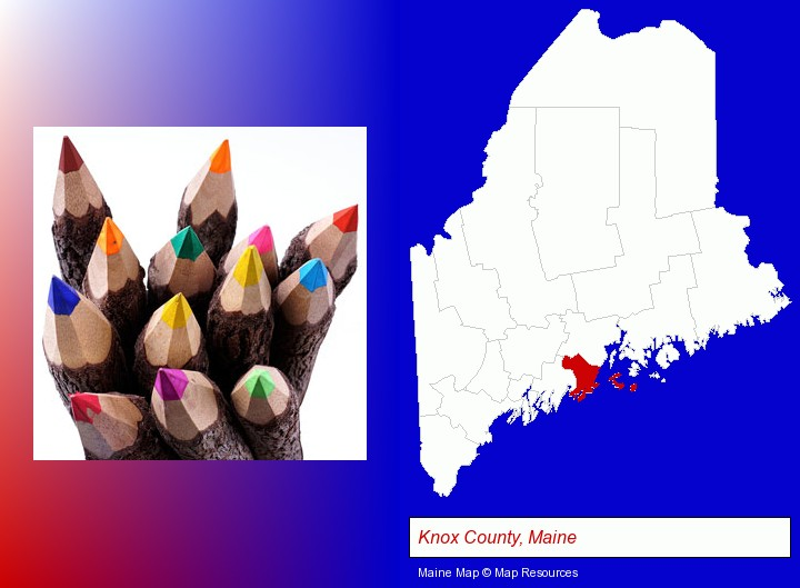 colored pencils; Knox County, Maine highlighted in red on a map