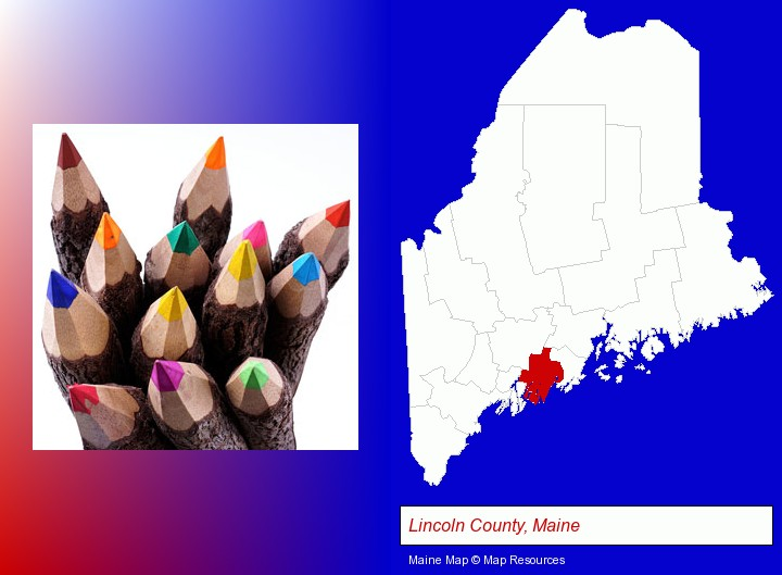 colored pencils; Lincoln County, Maine highlighted in red on a map
