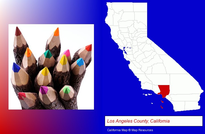 colored pencils; Los Angeles County, California highlighted in red on a map