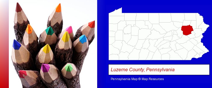 colored pencils; Luzerne County, Pennsylvania highlighted in red on a map