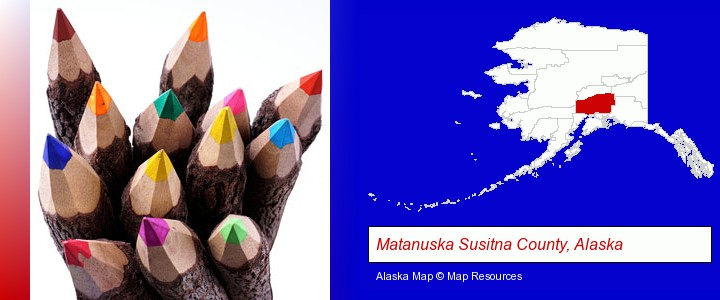 colored pencils; Matanuska Susitna County, Alaska highlighted in red on a map