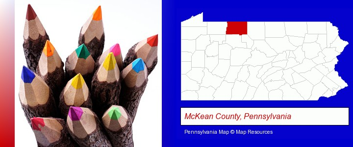 colored pencils; McKean County, Pennsylvania highlighted in red on a map