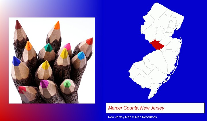 colored pencils; Mercer County, New Jersey highlighted in red on a map