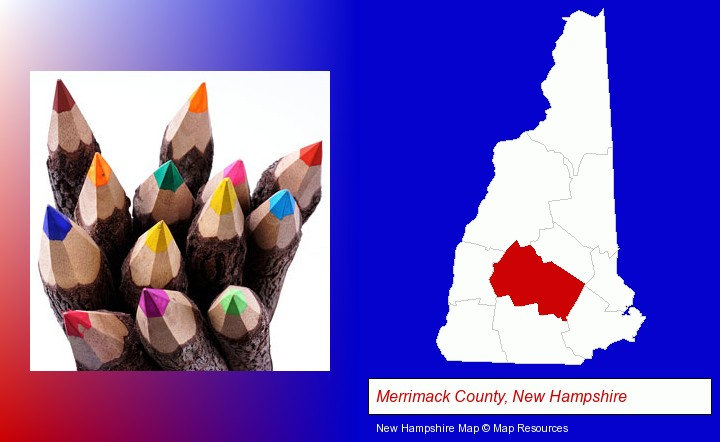 colored pencils; Merrimack County, New Hampshire highlighted in red on a map