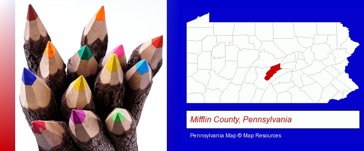colored pencils; Mifflin County, Pennsylvania highlighted in red on a map