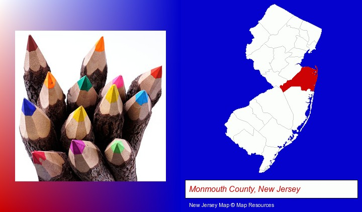 colored pencils; Monmouth County, New Jersey highlighted in red on a map