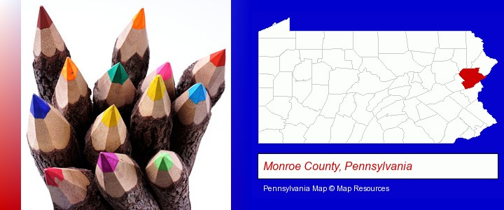 colored pencils; Monroe County, Pennsylvania highlighted in red on a map
