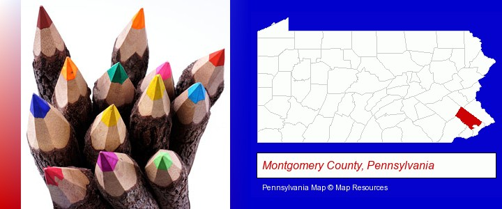 colored pencils; Montgomery County, Pennsylvania highlighted in red on a map