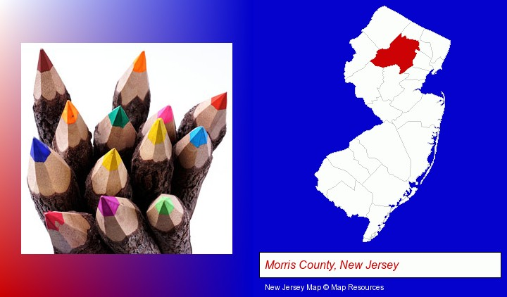 colored pencils; Morris County, New Jersey highlighted in red on a map