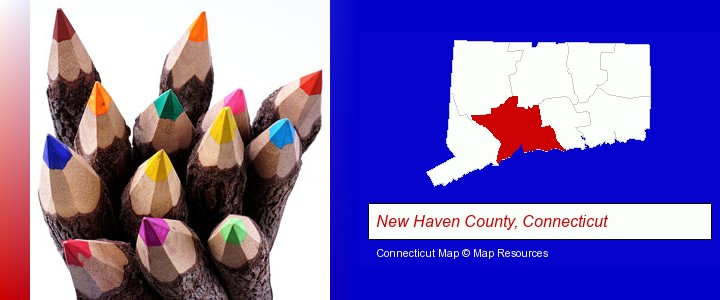 colored pencils; New Haven County, Connecticut highlighted in red on a map